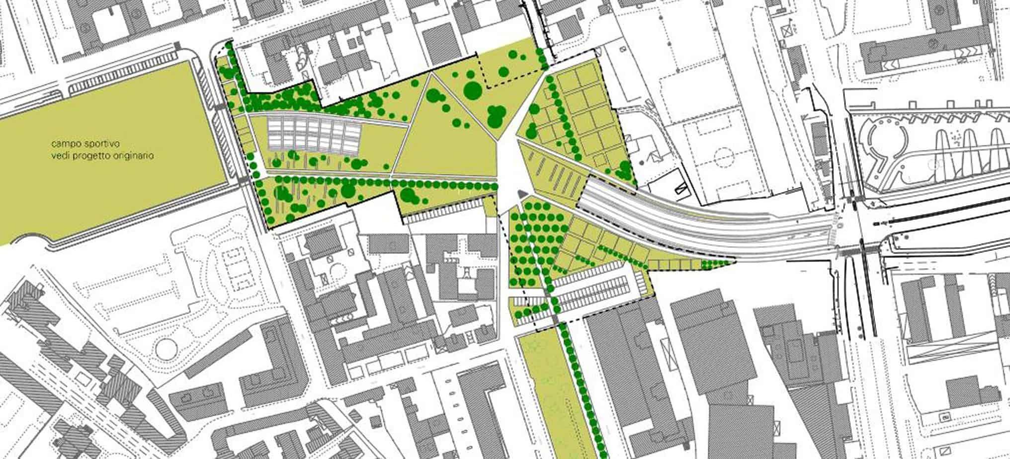 L'ipotesi della sistemazione a nuovo parco urbano tra Via Eritrea e Largo Boccioni