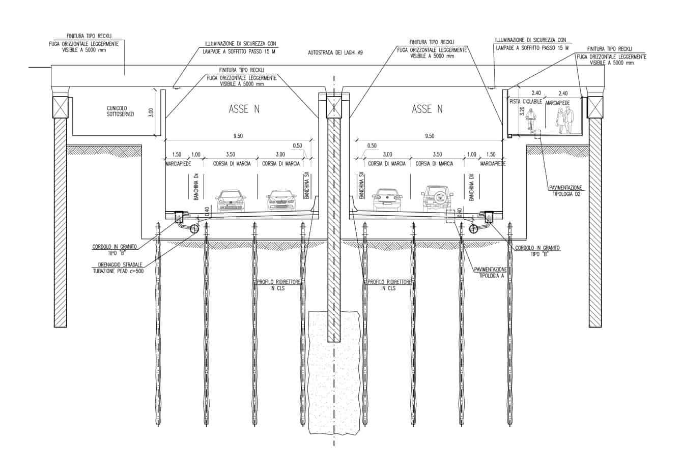 La sezione tipologica del sottopasso modificato di Largo Boccioni