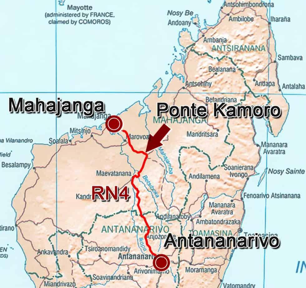 L'ubicazione del ponte di Kamoro