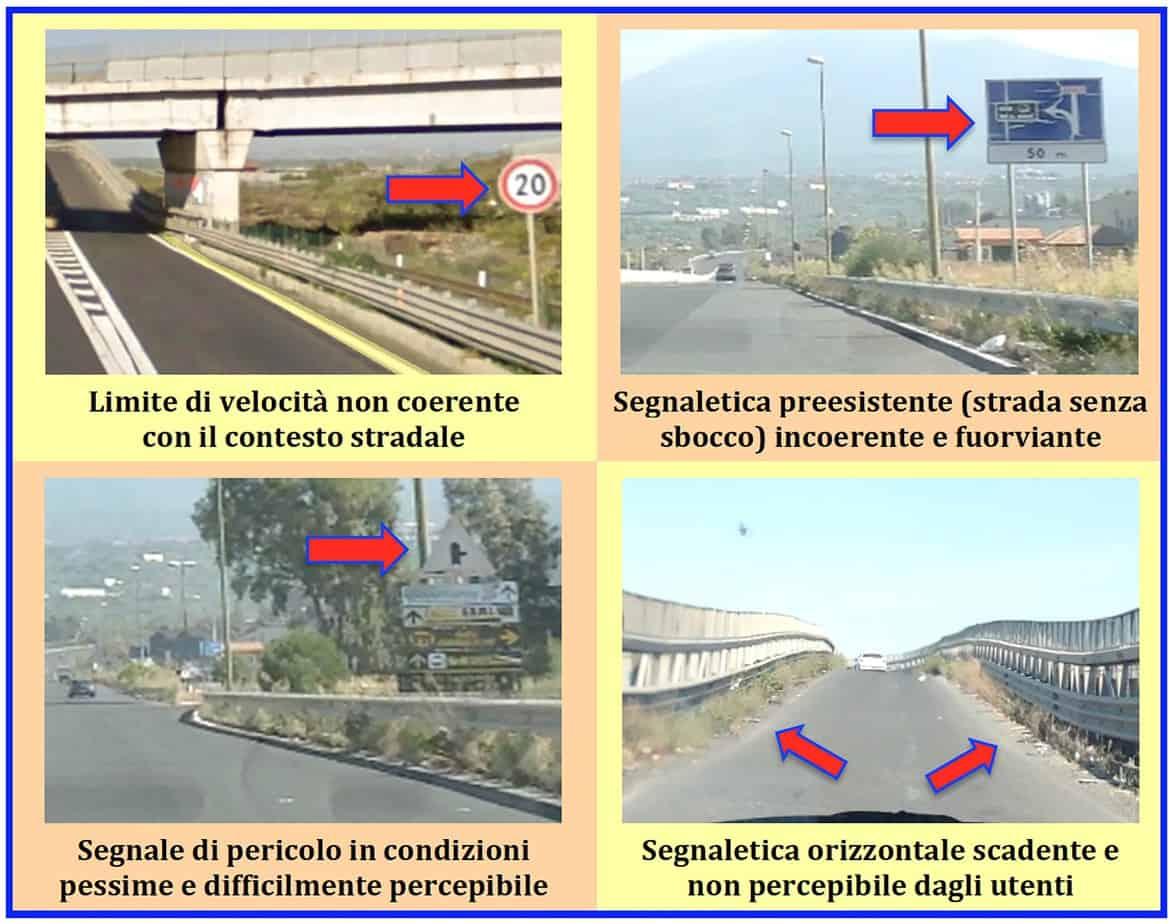 Esempi di criticità sussistenti nella segnaletica stradale presente lungo il tracciato in esame