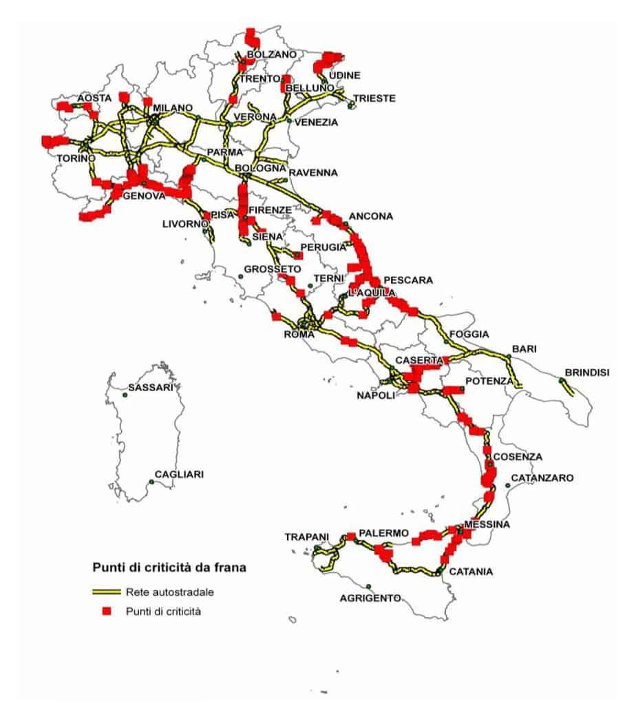 La franosità in Italia dal progetto IFFI e criticità lungo le principali strade e autostrade italiane