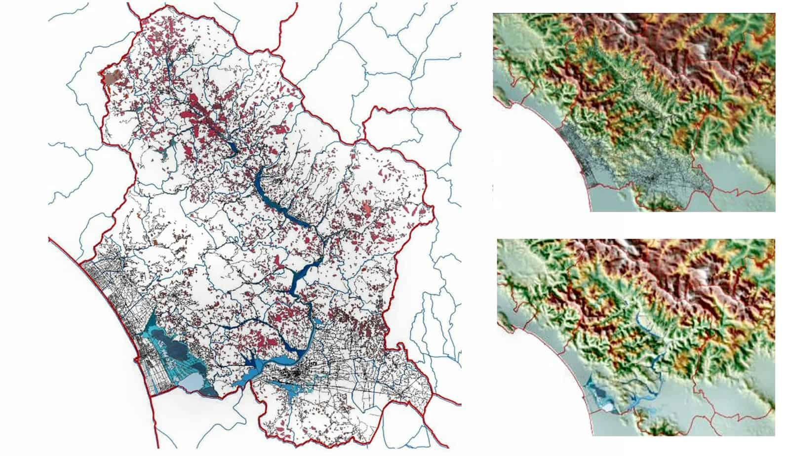 La cartina del danno atteso sulla rete del grafo stradale minore a causa di fenomeni franosi e idraulici (Provincia di Lucca)