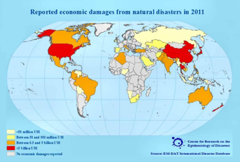 Grafici relativi alla stima dei danni (in milioni di Dollari USA) causati da disastri naturali nel periodo 1900-2011