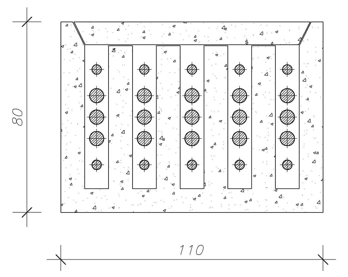 La sezione dello strallo (110x80 cm)