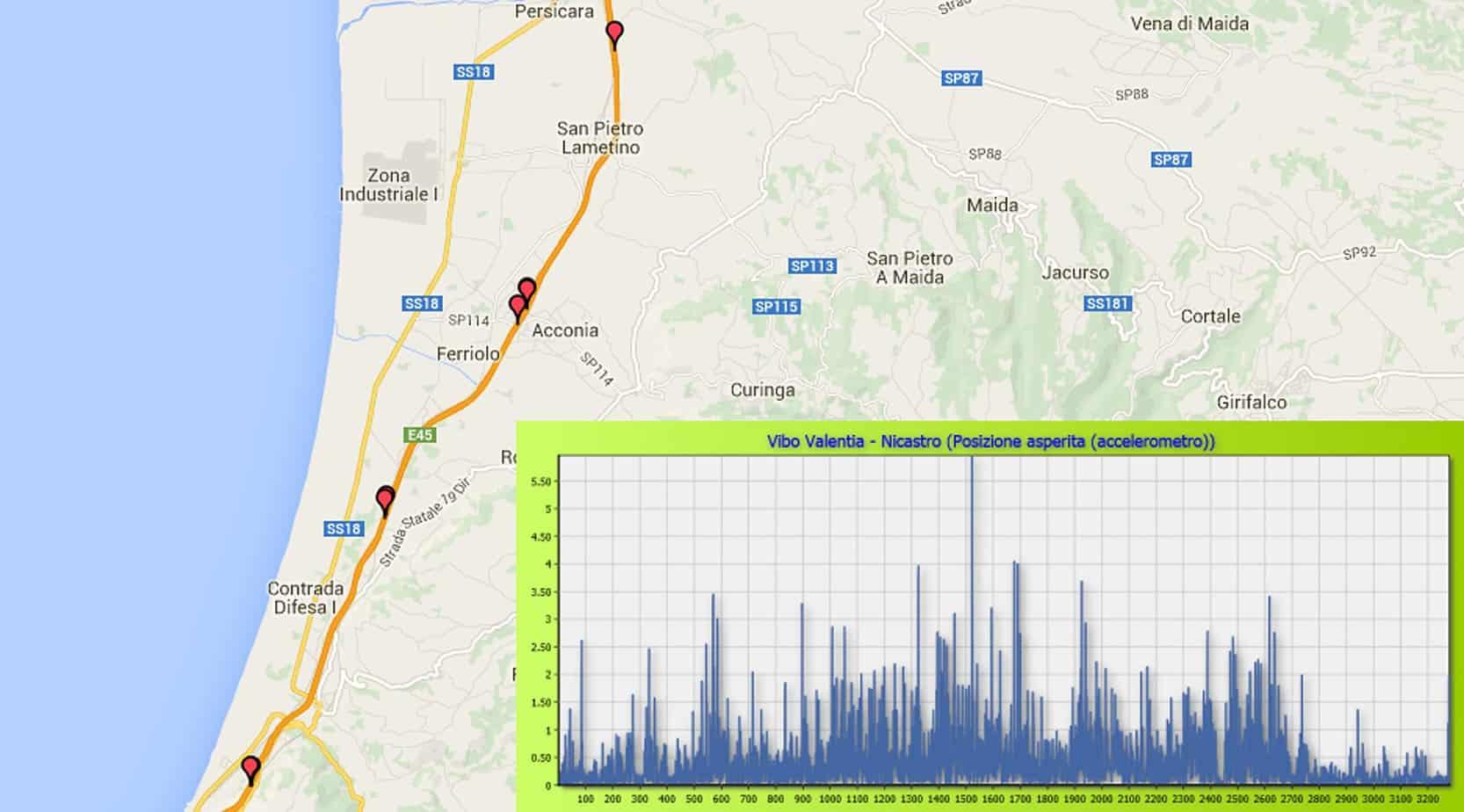 La visualizzazione su mappa e grafico delle anomalie in ambito autostradale