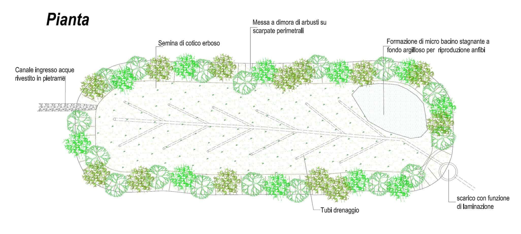 Lo schema tipo della vasca di filtraggio su corpi terrosi