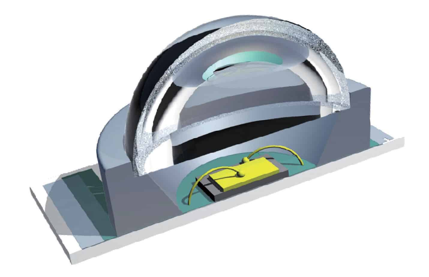 """La struttura di un LED di potenza. Sono ben visibili il chip montato su un dissipatore metallico, situato al centro dell'involucro, la lente """"a cupola"""" che svolge la funzione di ripartire il flusso luminoso uscente e le connessioni elettriche che dal chip vanno agli elettrodi del diodo (anodo e catodo)"""