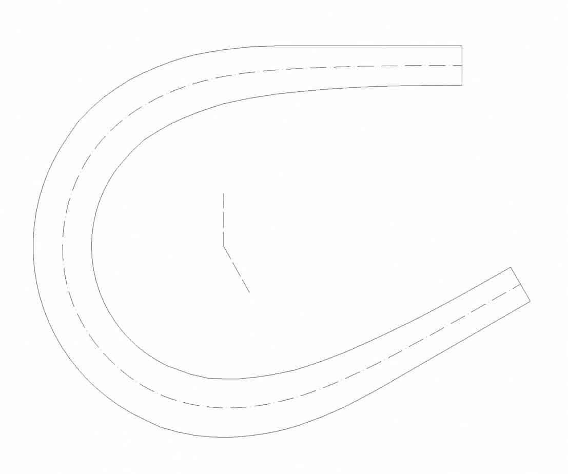 Il tornante a unica corsia (b = 3 m, Ri = 10 m, Re = 14,50 m, α = 30°)