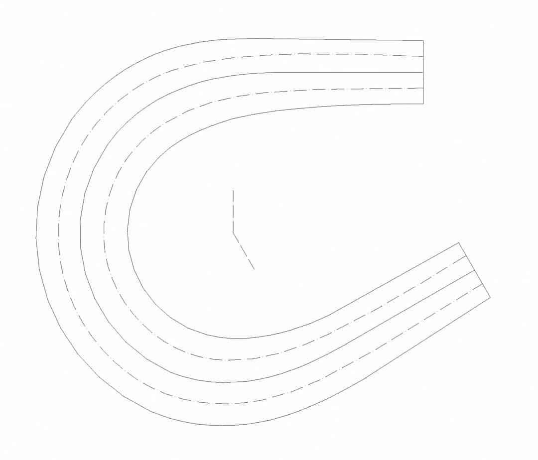 Il tornante a due corsie (b = 6 m, Ri = 10 m, Re = 18,65 m, R = 14,50 m, α = 30°)