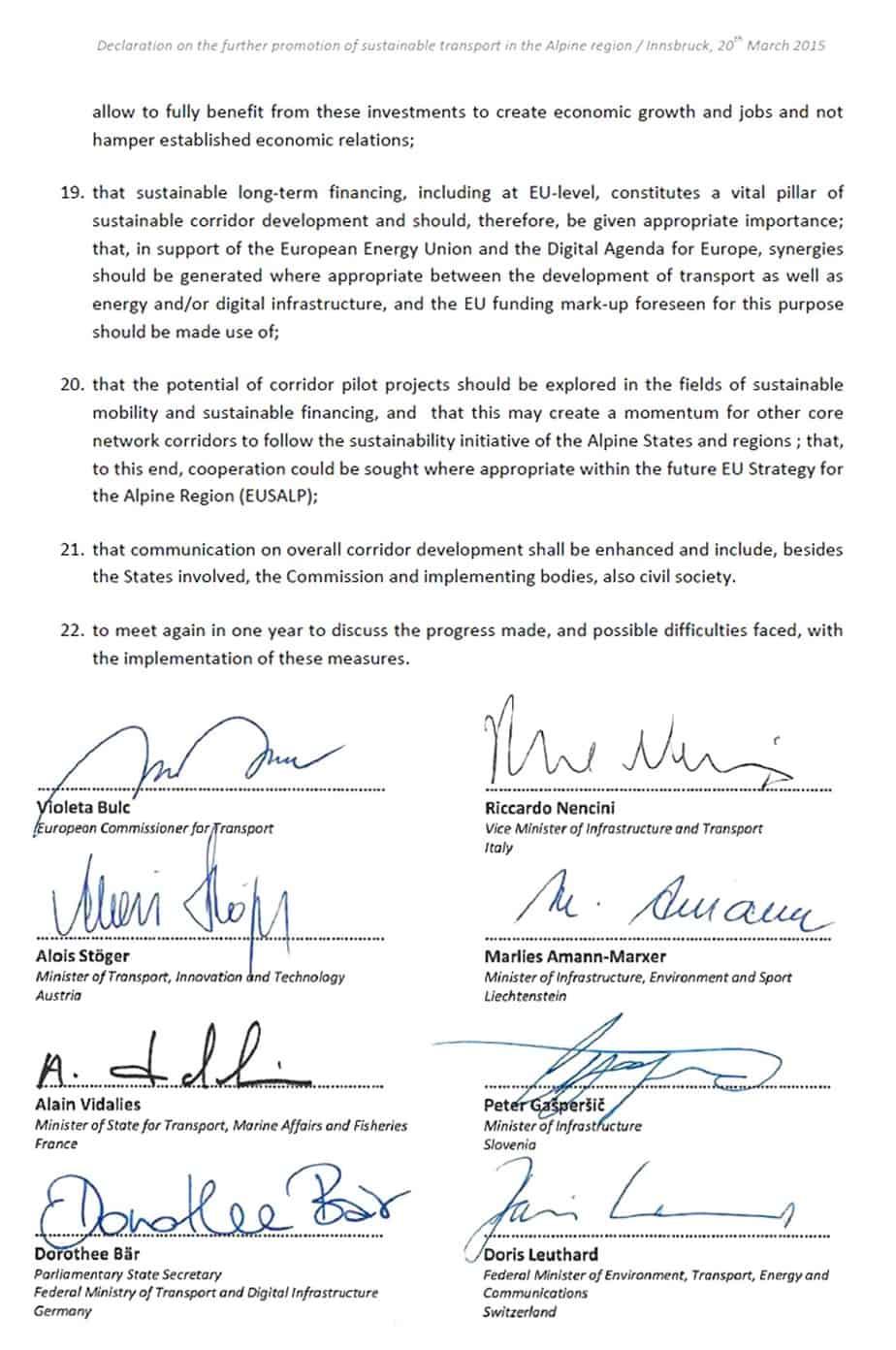 Le firme dei Ministri dei Trasporti e del Commissario Europeo Bulc sull'ultima pagina dell'accordo