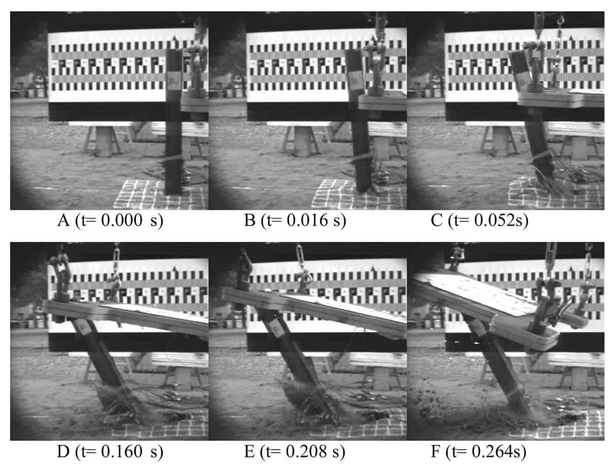 Fotogrammi estratti dalla ripresa ad alta velocità durante il Test B