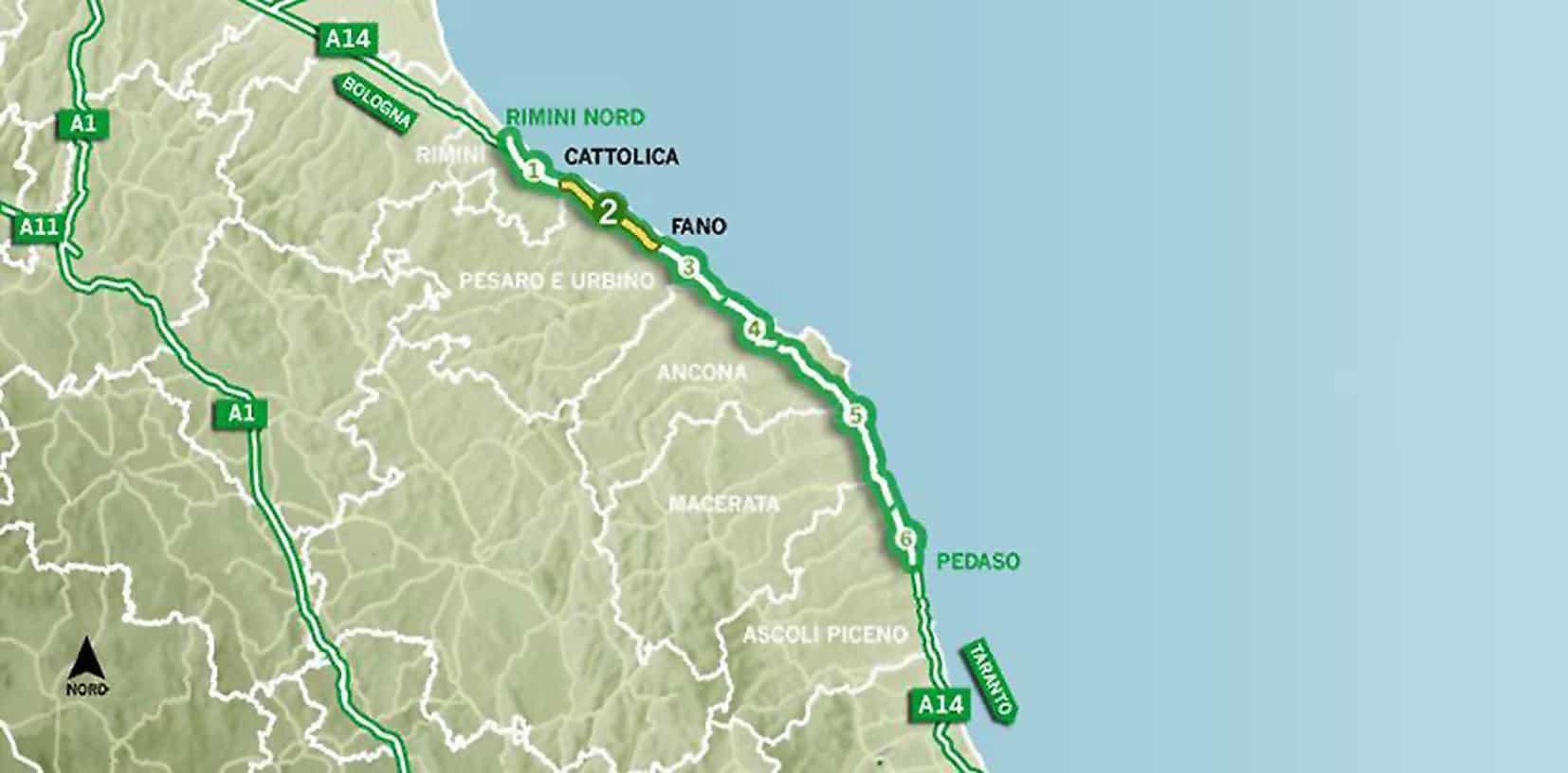Il Lotto 2, sul tratto Cattolica-Fano, della A14
