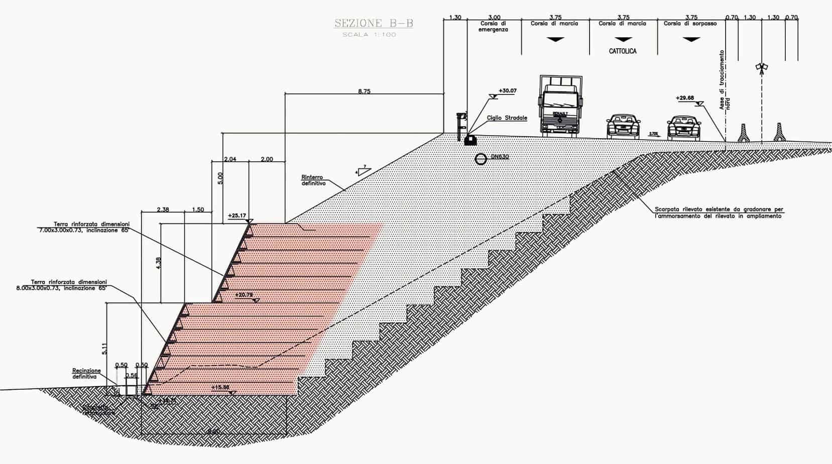 La sezione della struttura TA01 con un'altezza totale pari a 9 m