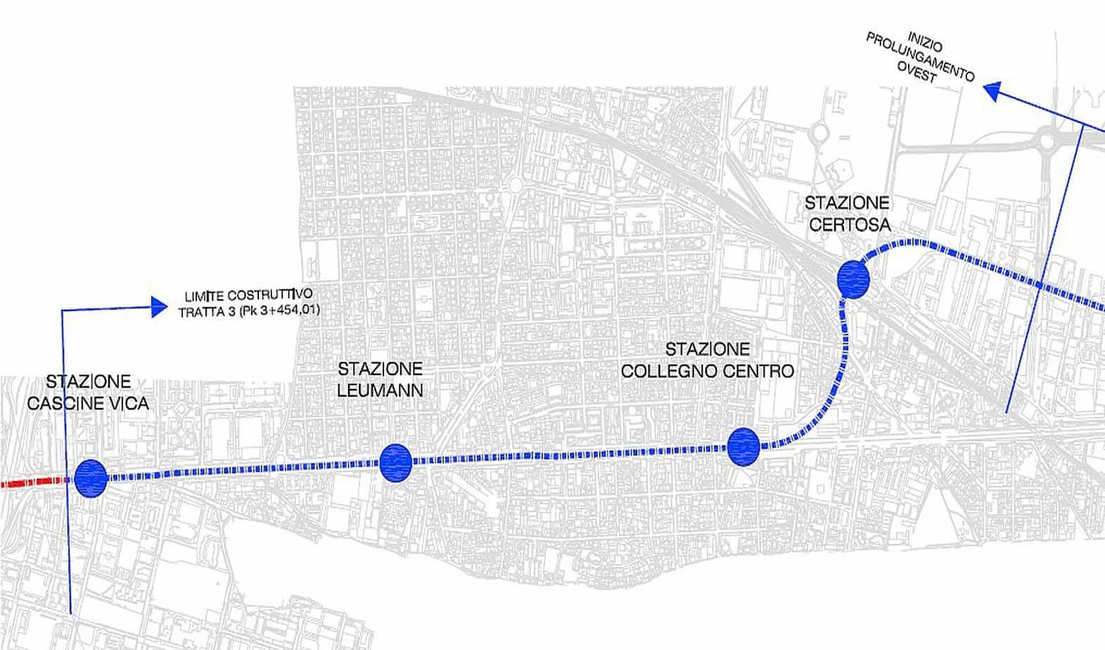 Il tracciato della tratta Collegno-Cascine Vica