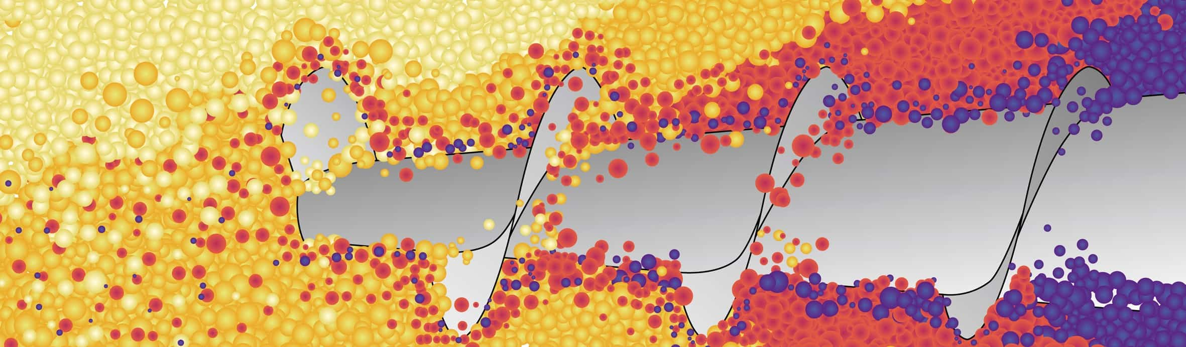 L'omogeneizzazione del conglomerato grazie alla forma conica della coclea: all'esterno l'asse della coclea per via della sua forma conica è particolarmente spesso, per cui in tale zona la coclea può accogliere e convogliare solo poco materiale relativamente freddo; al contrario del corpo base conico, il diametro dell'ala elicoidale rimane costante per tutta la lunghezza della coclea, per cui lo spazio per il materiale da convogliare diventa sempre maggiore. Il risultato è che il poco materiale leggermente più freddo proveniente dall'esterno si mescola con sempre più materiale più caldo proveniente dal centro della tramoggia. La temperatura diventa nel complesso omogenea