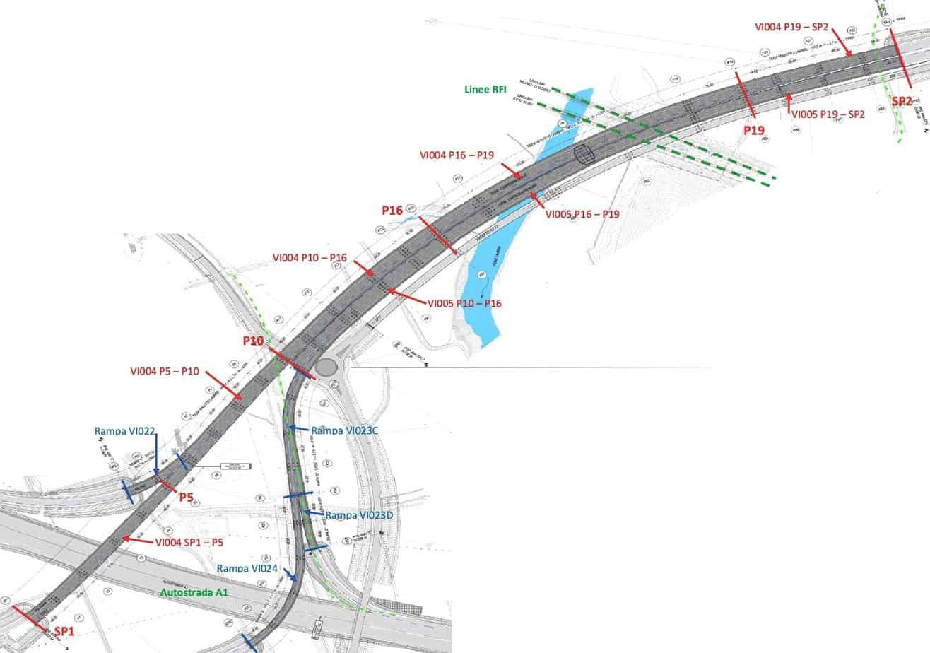 La zona di svincolo sulla A1 sul tracciato della TEEM-A58
