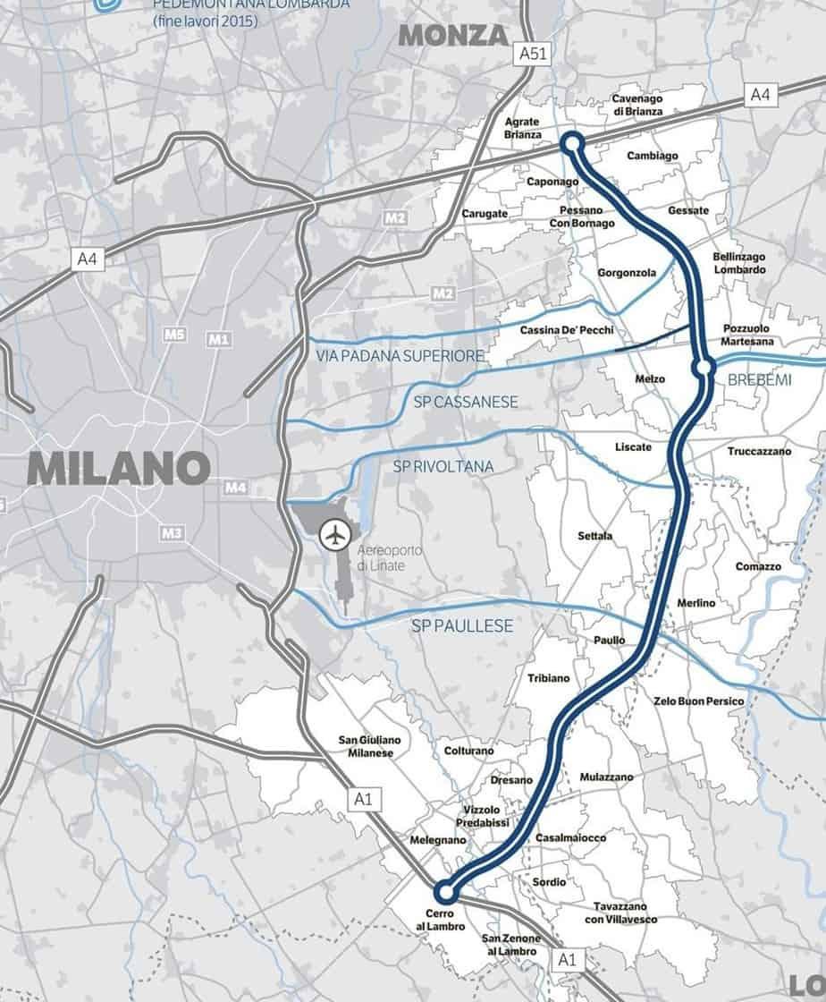La nuova Tangenziale Est Esterna di Milano A58