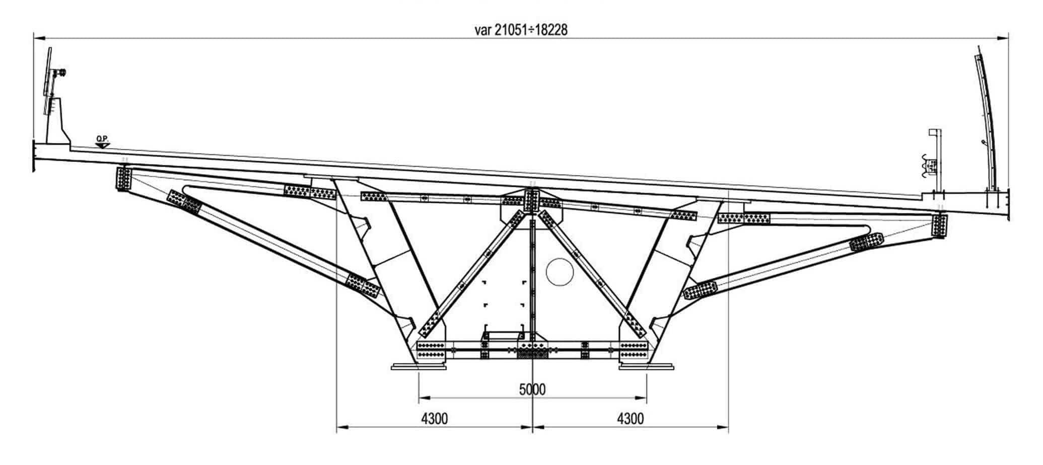 La sezione strutturale degli impalcati della A58: la sezione trasversale VI005