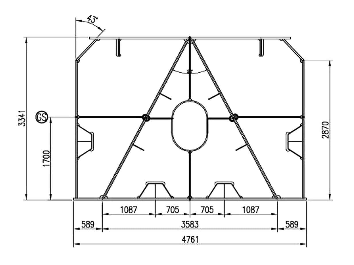 Le sezioni di progetto dei cavalletti: la sezione di innesto