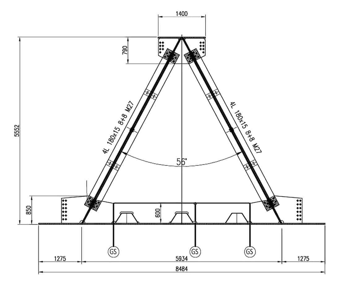 Le sezioni di progetto dei cavalletti: la sezione tipica in prima fase