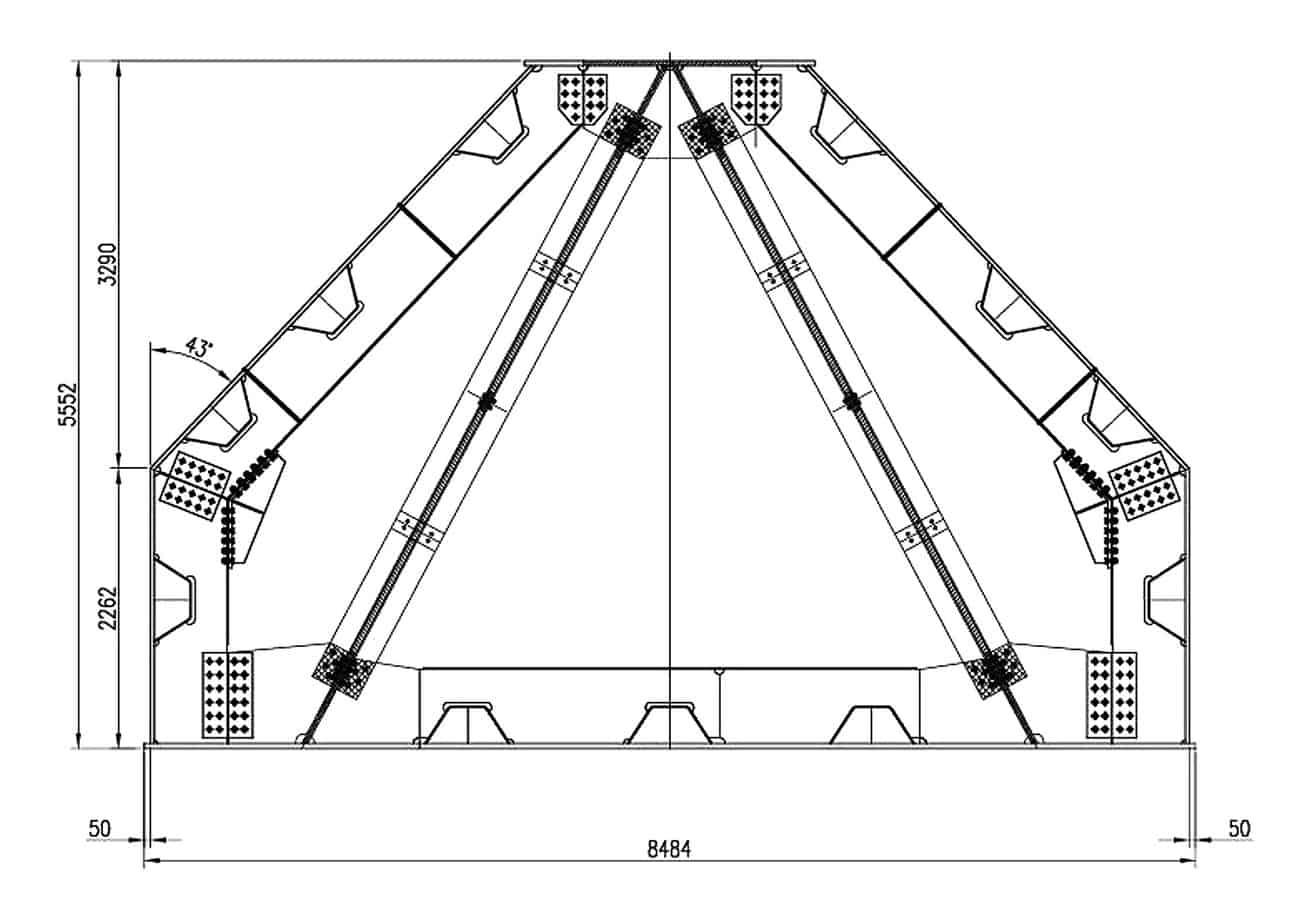 Le sezioni di progetto dei cavalletti: la sezione tipica completa