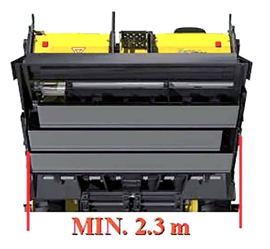 Il banco delle Sumitomo HA60W-8B e HA60C-7 passa dalla larghezza di stesa di 2,30 a 6,00 m in continuo e in modo completamente idraulico mettendo in luce una flessibilità e una versatilità uniche nel panorama delle finitrici ad alte prestazioni