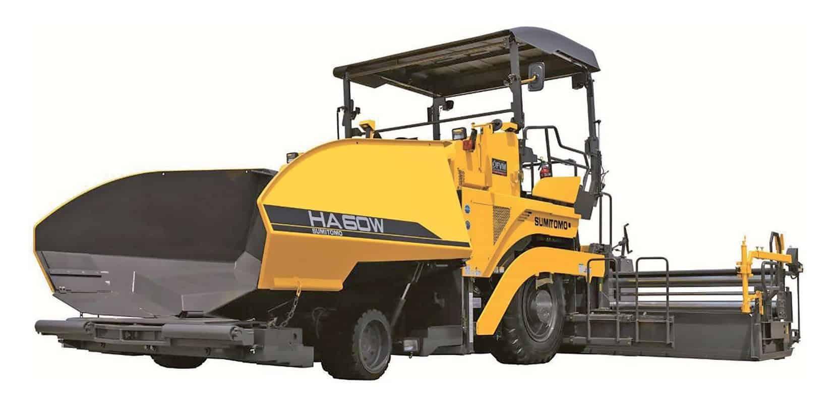 La Sumitomo HA60W-8B adotta la soluzione inusuale del singolo asse anteriore. Una scelta progettuale specifica che si rivela efficace ed è supportata da un attento studio sull'effettivo impiego delle finitrici