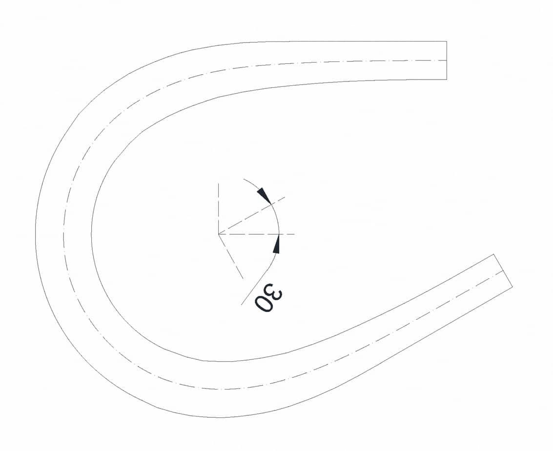 Il tornante a unica corsia (b = 3 m, Ri = 10 m, Re = 14,50 m) - caso α = 30°