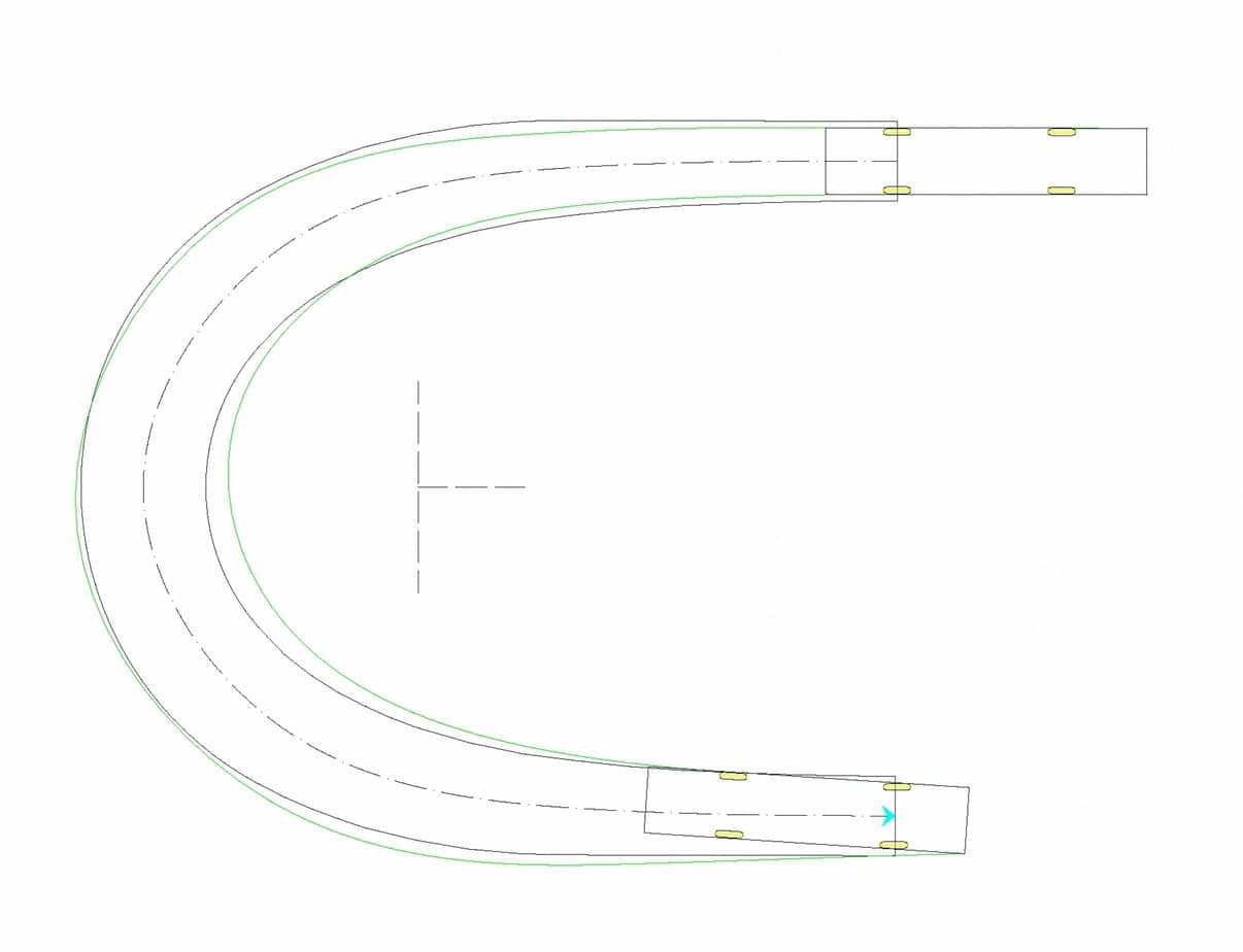 Il caso di studio 1: tornante a unica corsia (b = 3 m, Ri = 8 m)