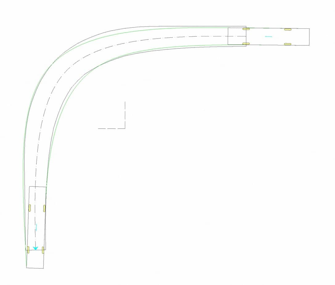 Il caso di studio 2: tornante a unica corsia (b = 3 m, Ri = 10 m)