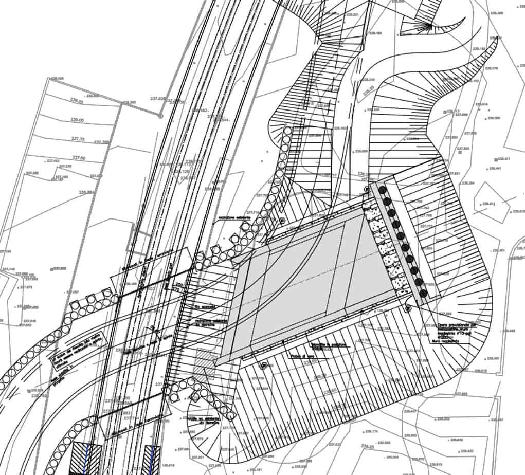 La planimetria della fossa di varo con monolite prima della spinta