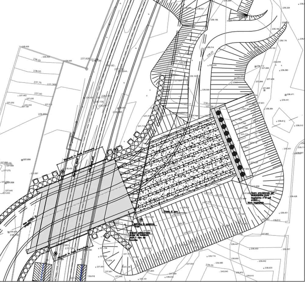 La planimetria della fossa di varo con monolite a spinta ultimata