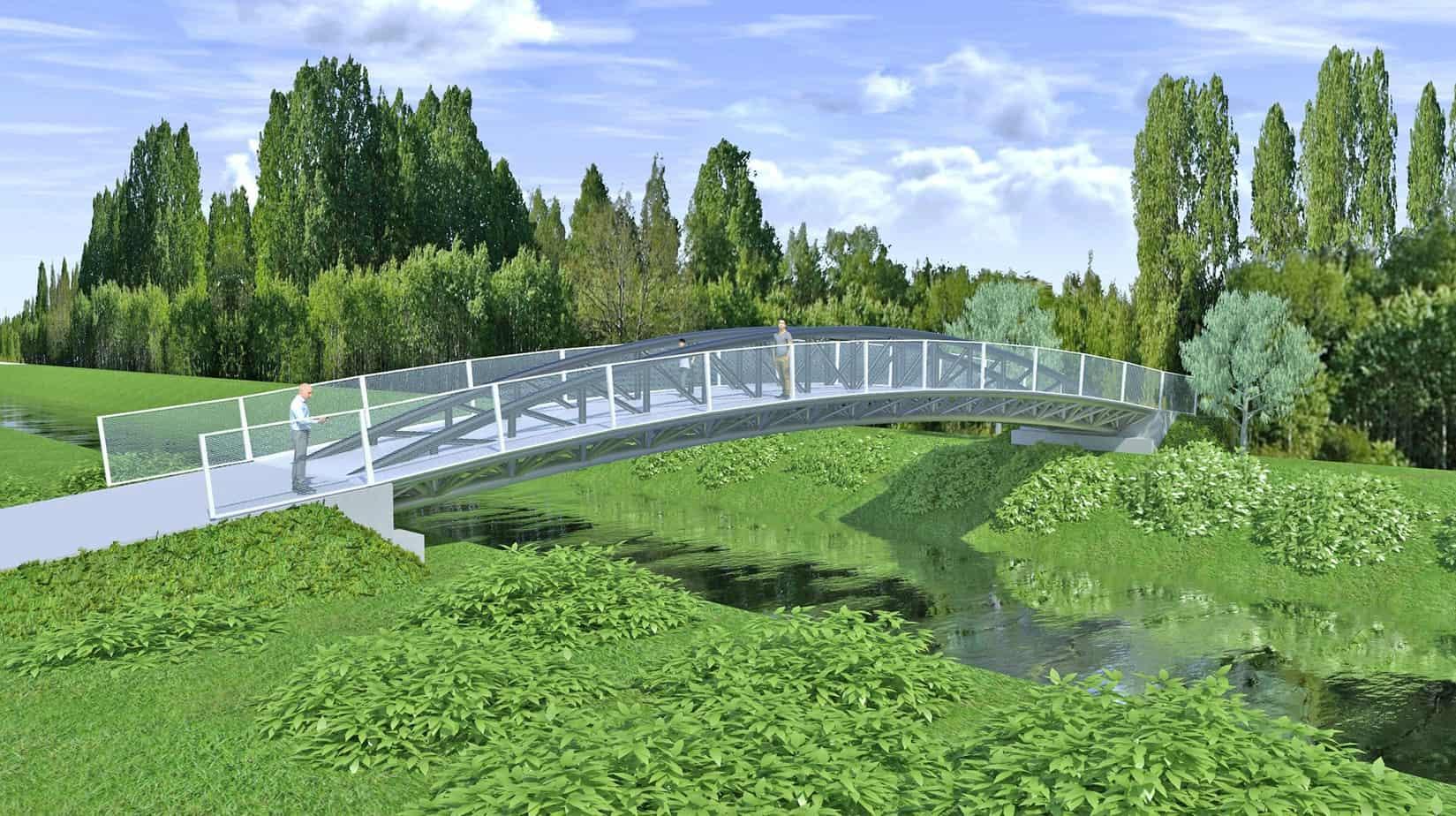 Un rendering di un ponte ciclopedonale