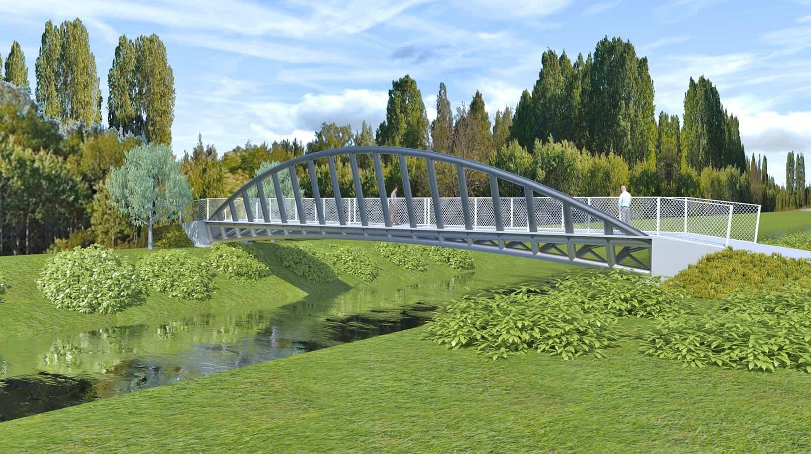 Un rendering del ponte pedonale ad arco