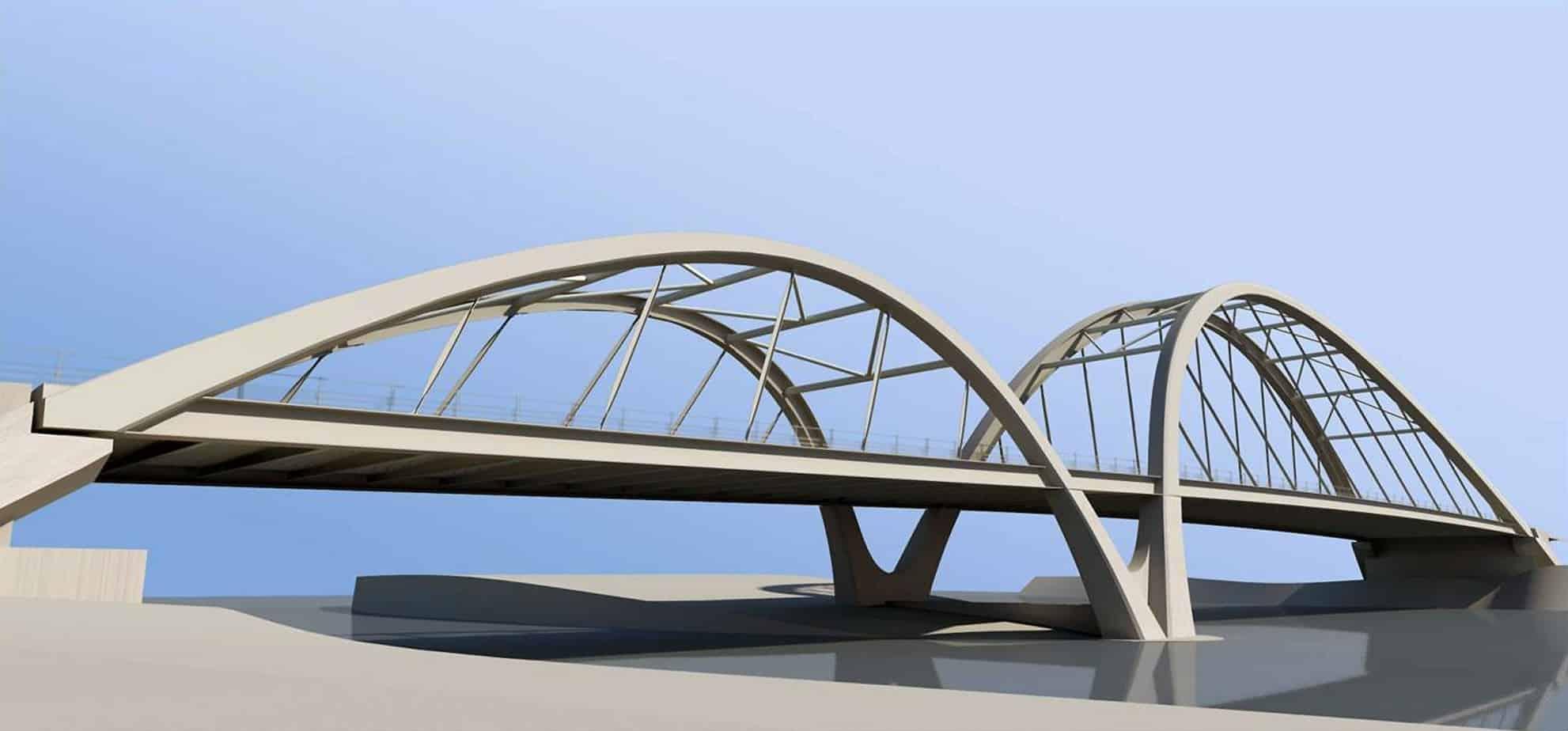 Un render del nuovo ponte a Finale di Rero