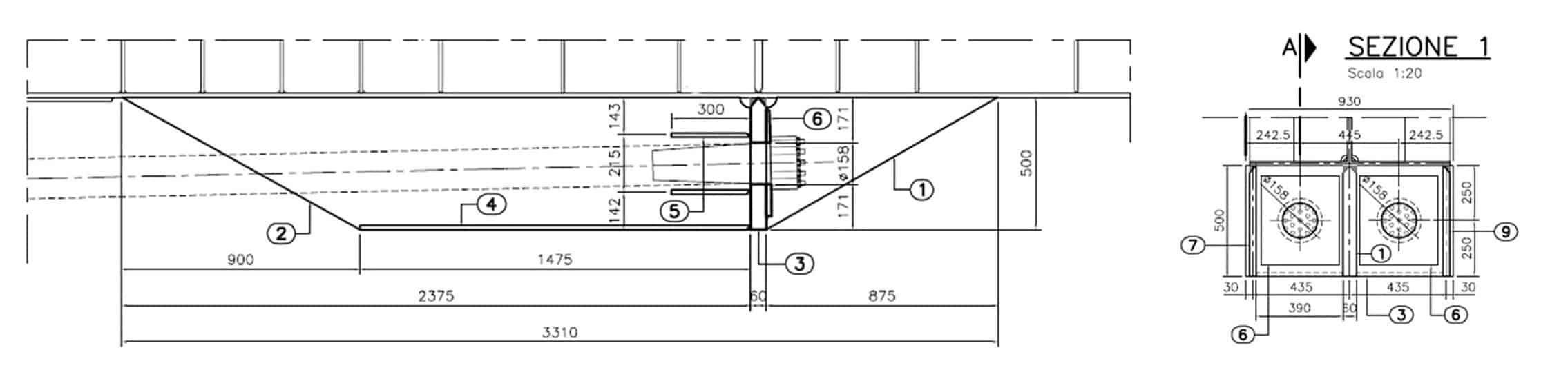 Particolari costruttivi del sistema di ancoraggio dei cavi di precompressione
