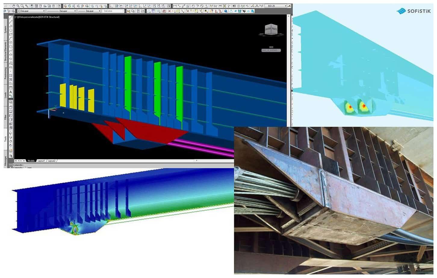 Un dettaglio della zona d'ancoraggio dei cavi - modello FEM con SOFiSTiK
