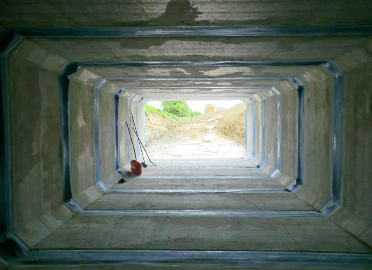 Vista dall'interno prima della saldatura