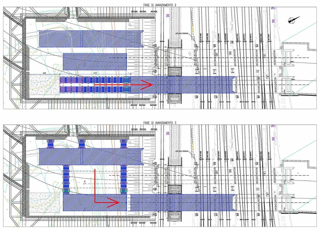 Il progetto delle fasi di spinta (monolite Est). Si noti come i primi due conci sono stati costruiti accodati mentre il terzo concio sia stato costruito lateralmente ai primi due e poi sia stato necessario traslarlo lateralmente
