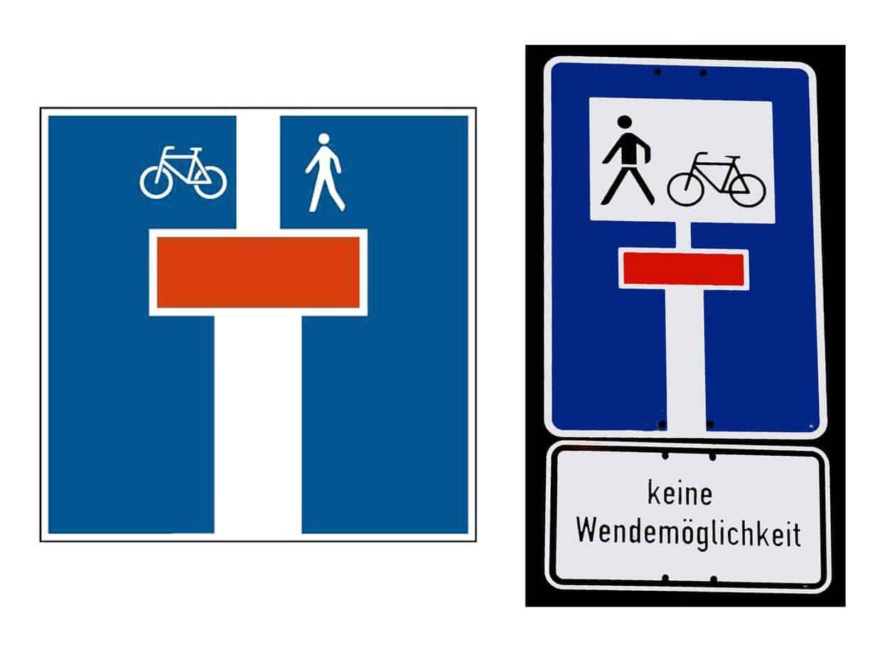 Il nuovo segnale di strada senza uscita ad eccezione di pedoni e velocipedi e il corrispondente segnale già in uso in Germania