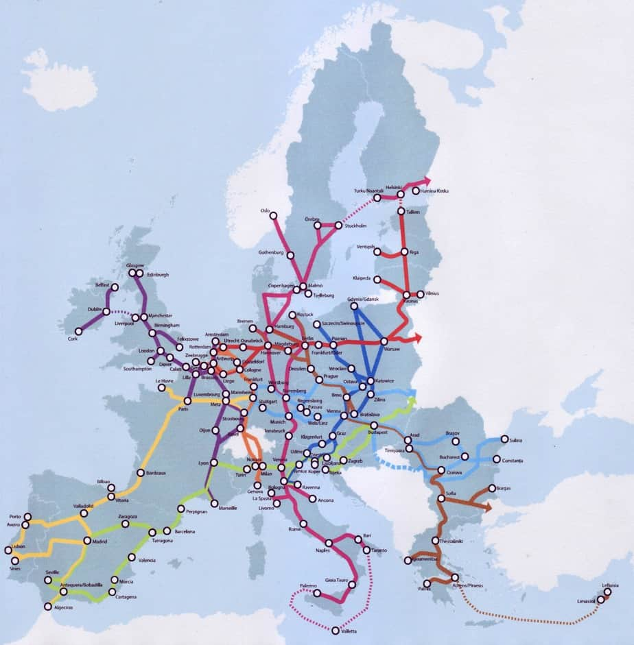 La mappa dei Corridoi europei
