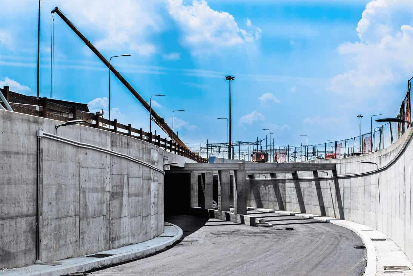 L'apertura di Via Stephenson e le fasi conclusive dell'imbocco Nord del sottopasso al giorno 30 Aprile 2015