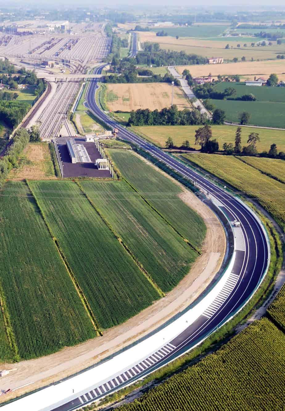 La vista aerea del binario ambientale