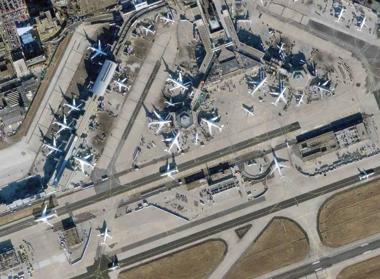 Vista dall'alto dell'aeroporto di Francoforte