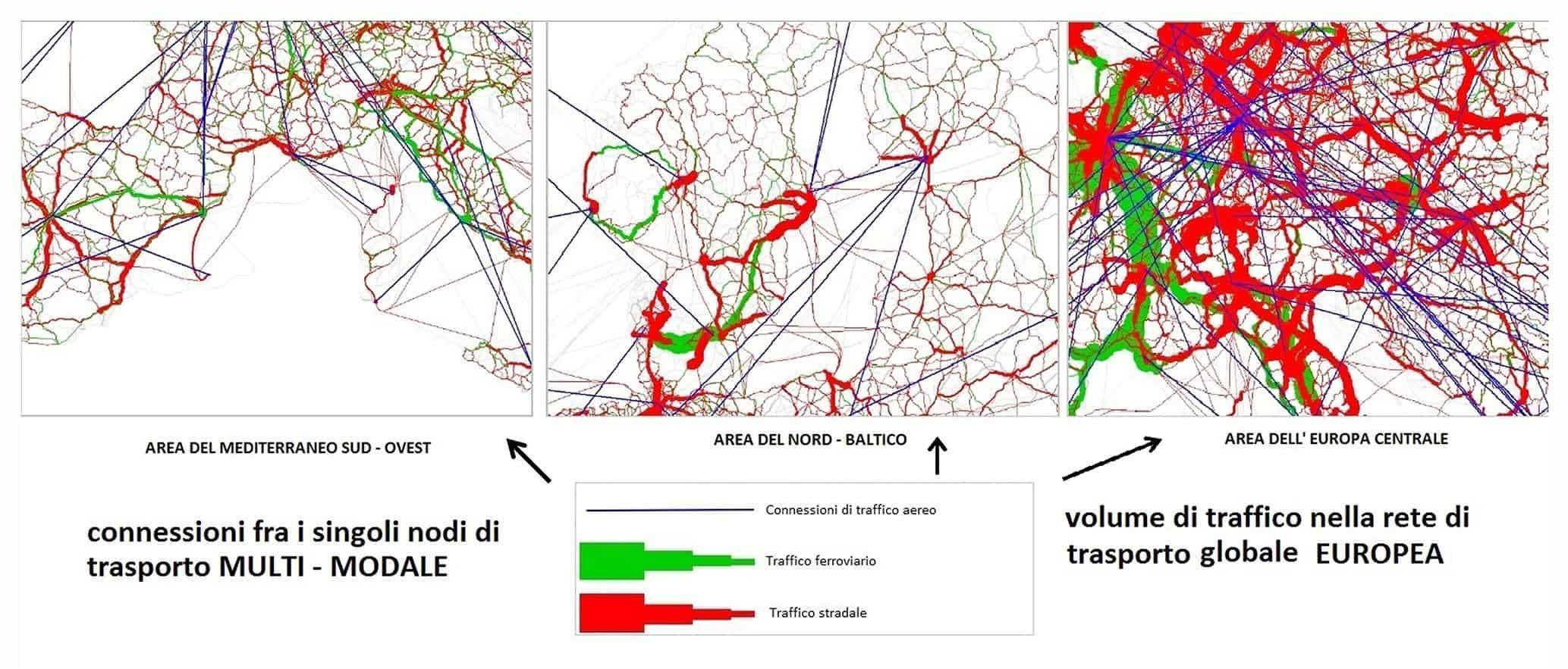 L'assegnamento del traffico nell'Europa centrale (sinistra) - Mediterraneo (centro) - Nord Baltico (destra)