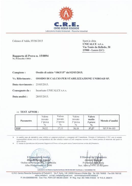I certificati delle analisi