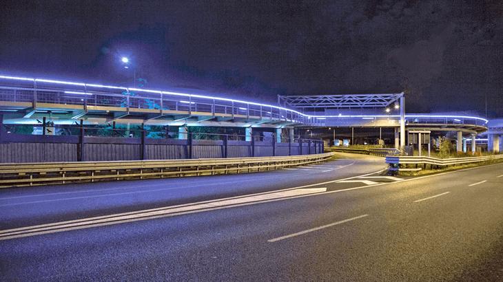Vista notturna dell'attraversamento della rampa H