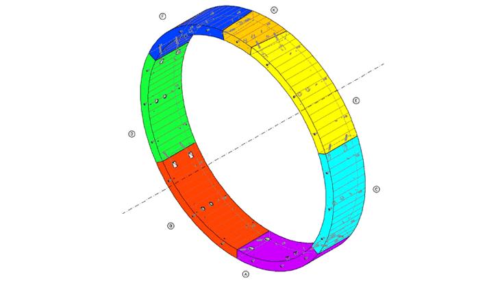 Uno schema dell'anello in conci prefabbricati