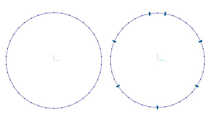 Il modello Beam senza e con i giunti longitudinali