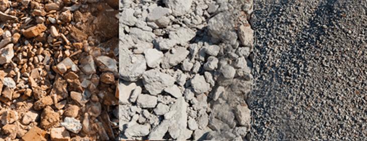 Stabilizzato misto di macerie, stabilizzato da solo calcestruzzo e c.a. e pietrisco di calcestruzzo